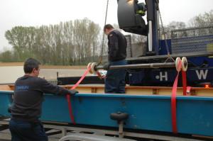 Diese Stange mit den beiden Führungsrollen wurde extra für den Einsatz an der Barke konstruiert